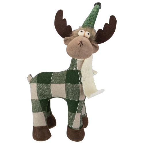 "14"" Tan and Green Buffalo Plaid Standing Moose Christmas Decoration - IMAGE 1"