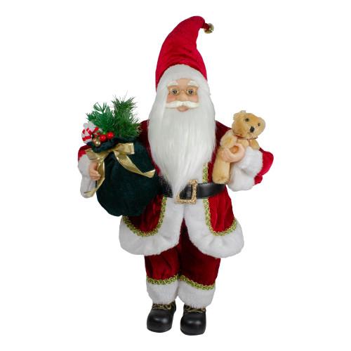 "18"" Standing Santa Christmas Figure with a Plush Bear - IMAGE 1"