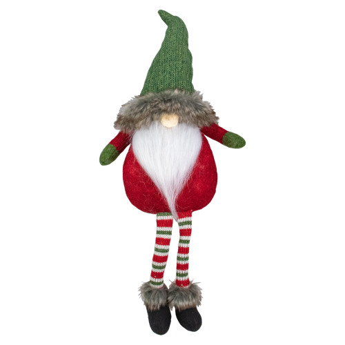 25-Inch Plush Red and Green Sitting Tabletop Gnome Christmas Decoration - IMAGE 1