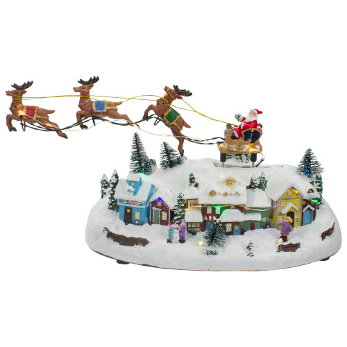 """12"""" Lighted Christmas Village with a Flying Sleigh - IMAGE 1"""