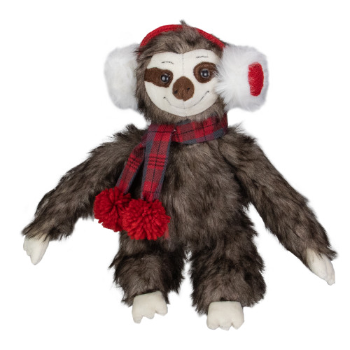 12-Inches Plush Brown Sitting Sloth Christmas Tabletop Decoration - IMAGE 1