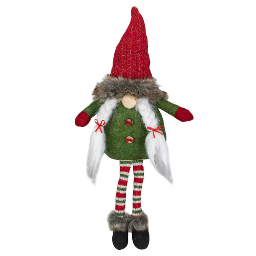 "25"" Red, Green, and White Sitting Tabletop Female Gnome Christmas Decoration - IMAGE 1"