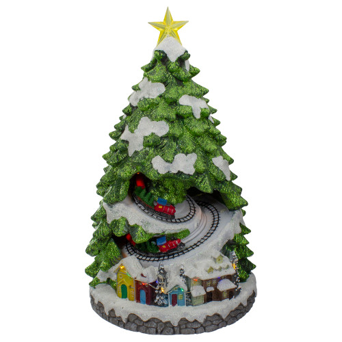 """15"""" Lighted and Animated Musical Christmas tree with Moving Trains - IMAGE 1"""