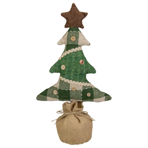 17.5-Inch Tan and Green Rustic Multi-Fabric Standing Christmas Tree Tabletop Decoration - IMAGE 1