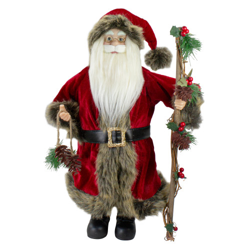 """18"""" Standing Old World Santa Claus with Walking Stick - IMAGE 1"""