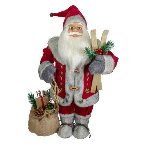"18"" Standing Santa Christmas Figure with Skis and Fur Boots - IMAGE 1"