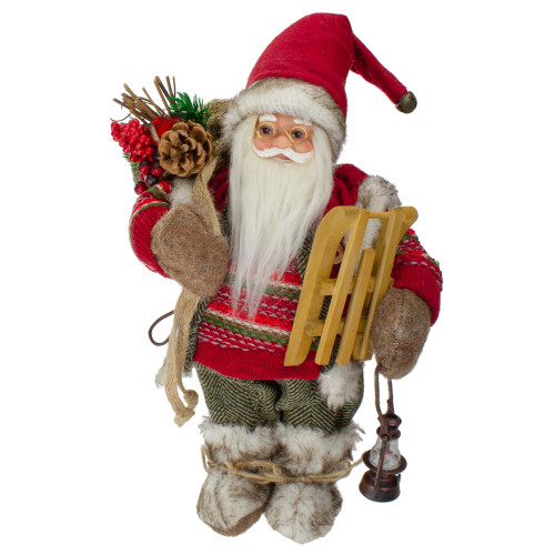 "12"" Standing Santa With a Sled and Lantern Christmas Figure - IMAGE 1"