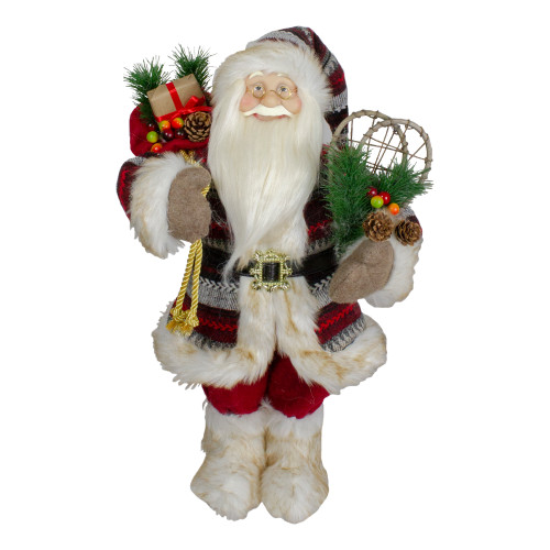 """18"""" Standing Santa Christmas Figure with Snow Shoes and Fur Boots - IMAGE 1"""