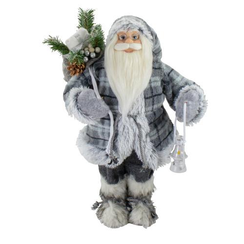 """18"""" Gray Standing Santa Christmas Figure with Lantern - IMAGE 1"""