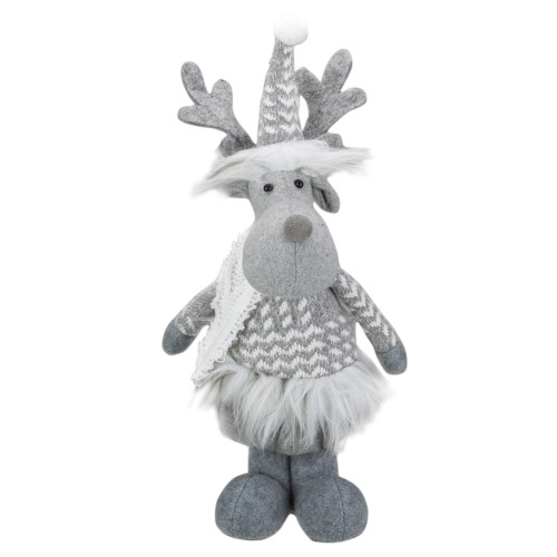 12-Inch Gray and White Standing Tabletop Moose Christmas Figure - IMAGE 1
