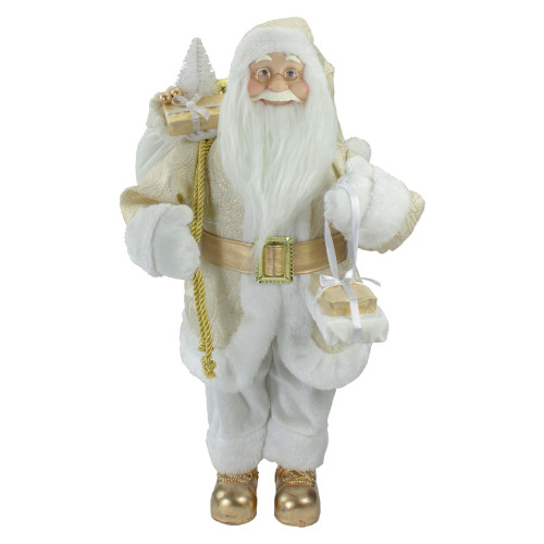 """18"""" Gold and White Standing Santa Christmas Figure with Presents - IMAGE 1"""