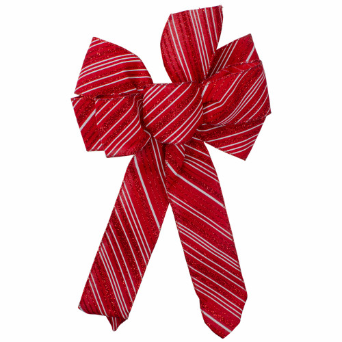 """14"""" x 9"""" Red and White Striped 6 Loop Christmas Bow Decoration - IMAGE 1"""