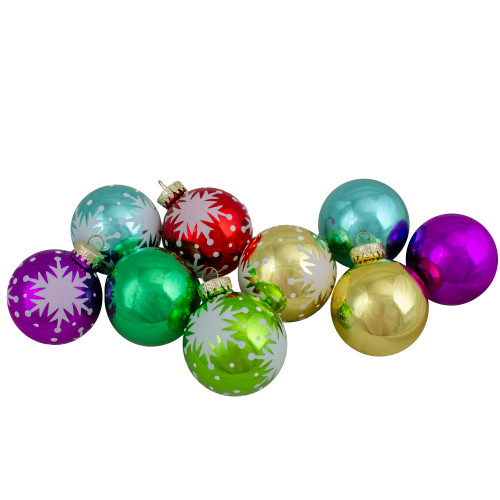 Set of 9 Assorted Glass Ball Hanging Christmas Ball Ornaments 2.25-Inch (57mm) - IMAGE 1