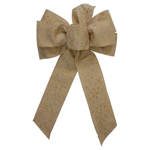 "14"" x 9"" Burlap and Gold Glittered Polka Dots 6 Loop Christmas Bow Decoration - IMAGE 1"