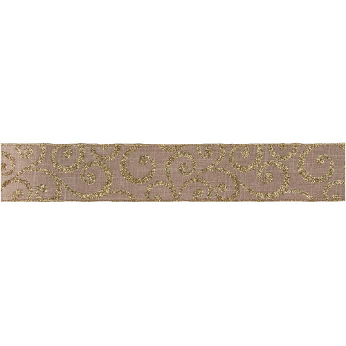 """Burlap and Gold Scroll Christmas Wired Craft Ribbon 2.5"""" x 10 Yards - IMAGE 1"""