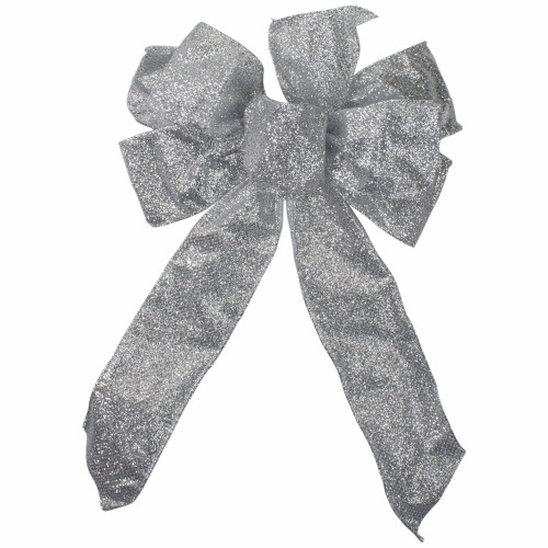"""14"""" x 9"""" Silver Glittered 6 Loop Christmas Bow Decoration - IMAGE 1"""