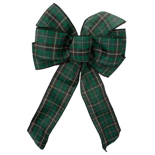 """14"""" x 9"""" Black and Green Plaid 6 Loop Christmas Bow Decoration - IMAGE 1"""