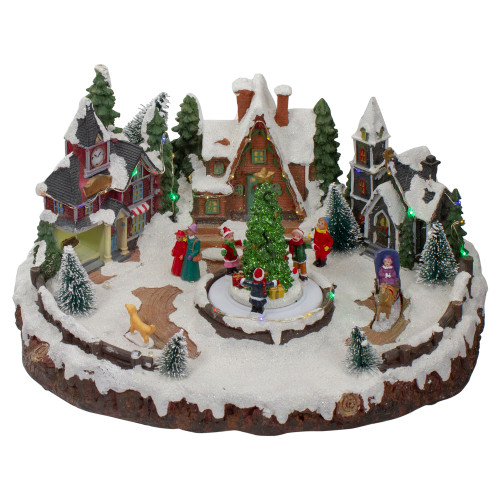 """11"""" Lighted and Animated Christmas Village with a Moving Christmas Tree - IMAGE 1"""