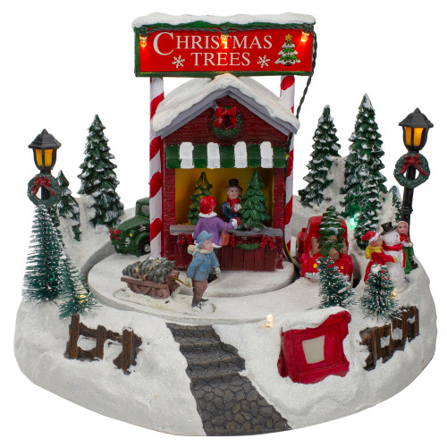 """9"""" Lighted and Animated Christmas Tree Farm Winter Scene with Moving Cars - IMAGE 1"""