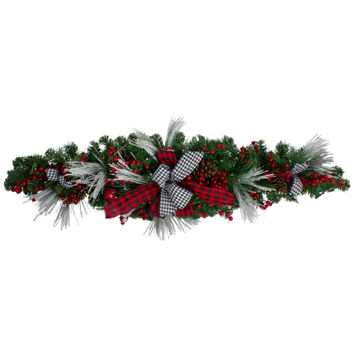 """52"""" Pre-Lit Pre-Decorated Artificial Christmas Swag with Bows and Berries - IMAGE 1"""