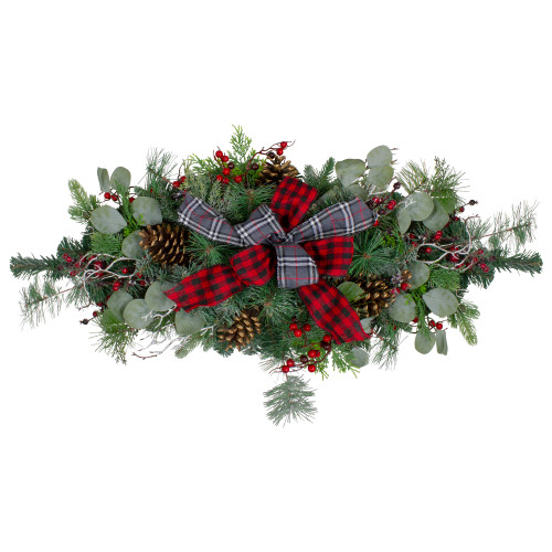 """36"""" Dual Plaid Bows and Red Berries Artificial Christmas Swag - Unlit - IMAGE 1"""