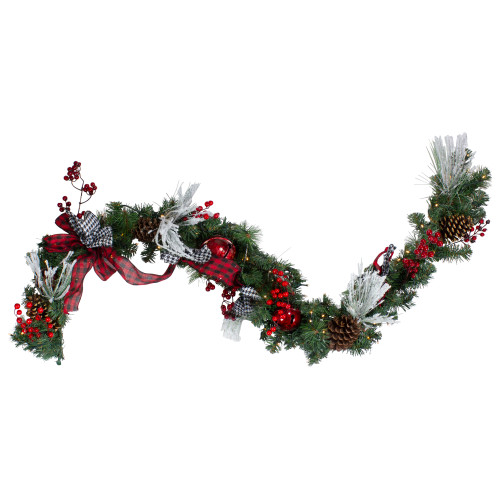 """6' x 12"""" Pre-Lit Plaid Bows and Red Berries Artificial Christmas Garland - Warm White Lights - IMAGE 1"""