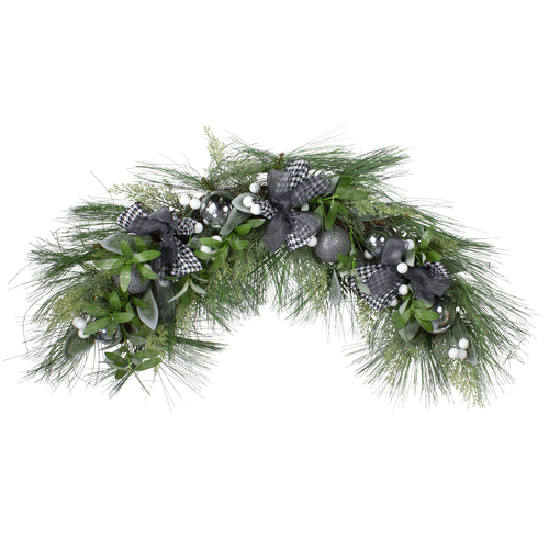 "36"" White Berries and Plaid Bows Artificial Christmas Swag - Unlit - IMAGE 1"
