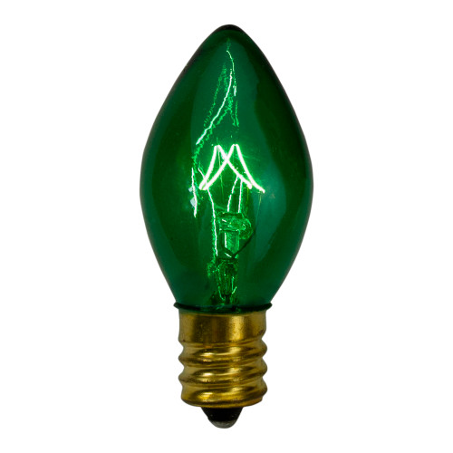 "Set of 4 Green C7 Transparent Christmas Replacement Bulbs - 4"" - IMAGE 1"