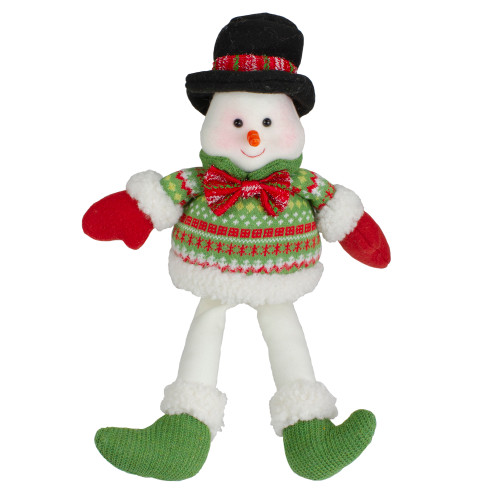 """18"""" Red and Green Sitting Smiling Snowman Christmas Figure - IMAGE 1"""