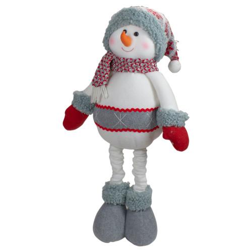 "22"" Red and Gray Plush Nordic Snowman Christmas Figure - IMAGE 1"
