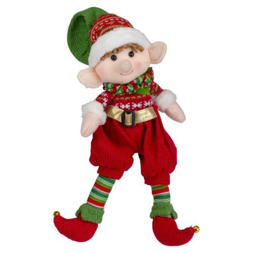 "15"" Red and Green Plush Jingle Bell Boy Elf Christmas Figure - IMAGE 1"