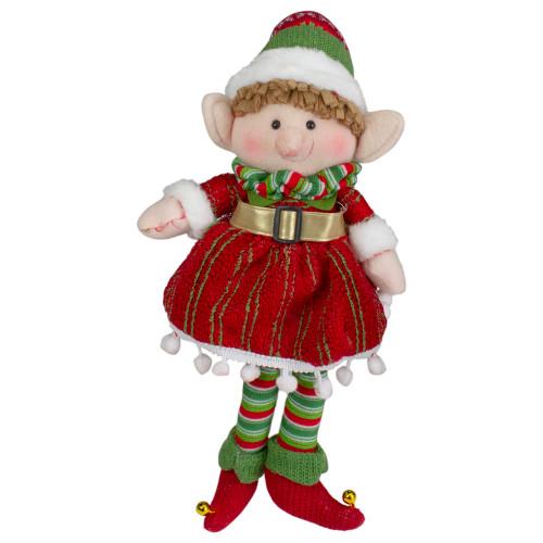 """14"""" Red and Green Plush Jingle Bell Girl Elf Christmas Figure - IMAGE 1"""