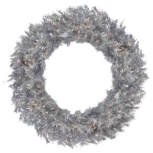 """36"""" Pre-Lit Silver Tinsel Artificial Christmas Wreath, Clear Lights - IMAGE 1"""