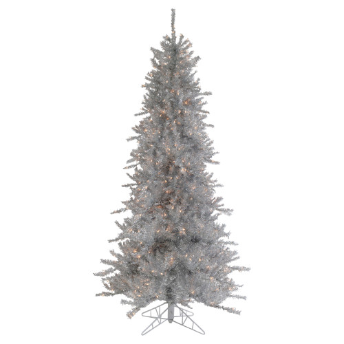 6.5' Pre-Lit Silver Tinsel Pine Slim Artificial Christmas Tree - Clear Lights - IMAGE 1