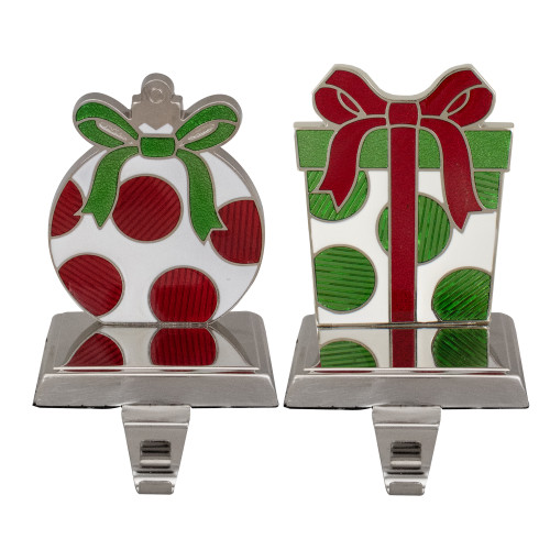 Set of 2 Green, Red, and Silver Gift Box Christmas Stocking Holder - IMAGE 1