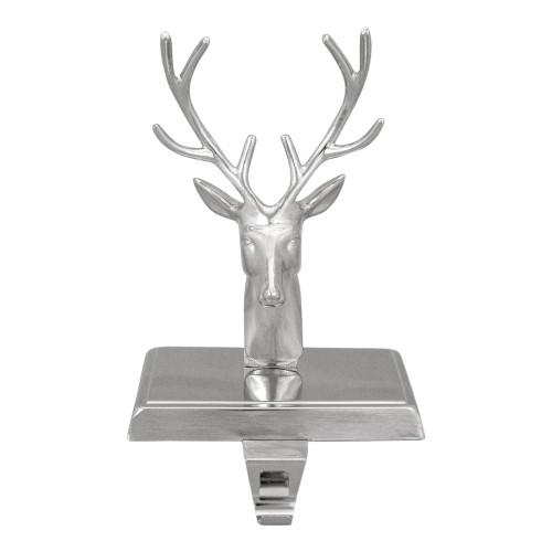 "8"" Shiny Silver Deer Head Christmas Stocking Holder - IMAGE 1"