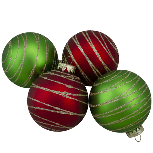 4ct  Glass Red and Green Matte Christmas Ball Ornaments 3.25-Inch (80mm) - IMAGE 1