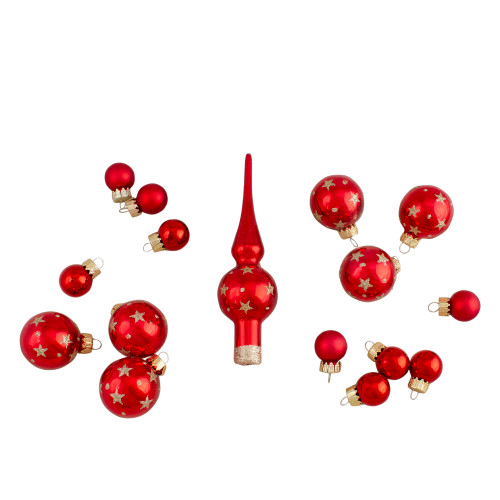 16-Piece Set of Assorted Red Glass Christmas Ball Ornaments with Tree Topper - IMAGE 1