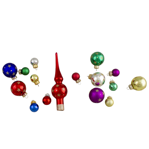 16-Piece Set of Assorted Multi-Color Glass Ball Christmas Ornaments with Tree Topper - IMAGE 1