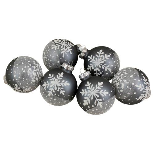 "Set of 6 Gray and White Snowflake Glass Christmas Ball Ornaments 4"" (101mm) - IMAGE 1"
