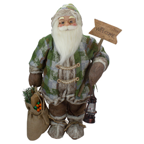 2' Standing Santa Christmas Figure Carrying a Welcome Sign - IMAGE 1