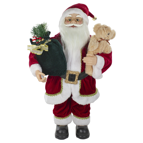 2' Standing Santa Christmas Figure with a Plush Bear - IMAGE 1