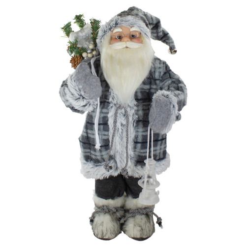 2' Standing Santa Christmas Figure Carrying a Lantern - IMAGE 1