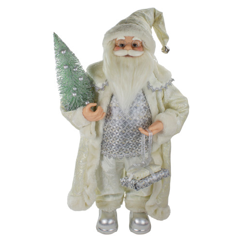 2' Standing Santa Christmas Figure Carrying a Green Pine Tree - IMAGE 1