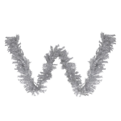 "9' x 12"" Silver Tinsel Artificial Christmas Garland, Unlit - IMAGE 1"