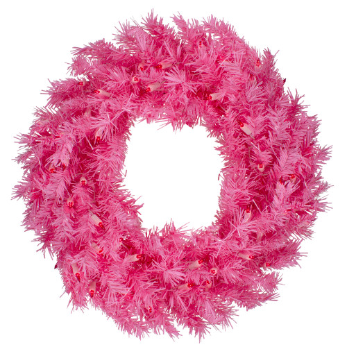 "24"" Pre-Lit Pink Spruce Artificial Christmas Wreath, Pink Lights - IMAGE 1"