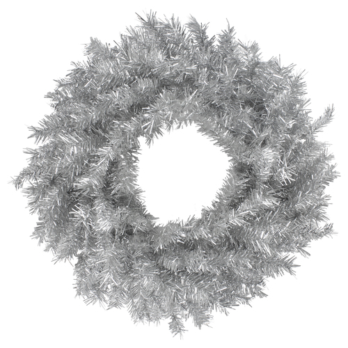 "24"" Silver Tinsel Artificial Christmas Wreath, Unlit - IMAGE 1"