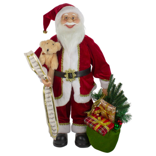 2' Standing Santa Christmas Figure with Presents and a Naughty or Nice List - IMAGE 1