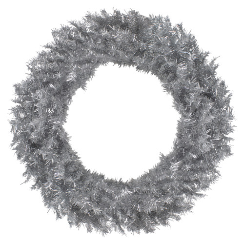 """36"""" Silver Tinsel Artificial Christmas Wreath, Unlit - IMAGE 1"""