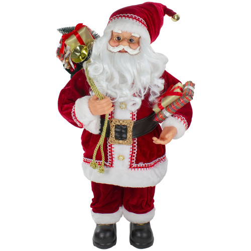2' Standing Curly Beard Santa Christmas Figure with Presents - IMAGE 1